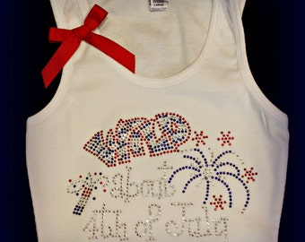 Happy 4th of July Tank, 4th of July shirt, 4th of july tank, 4th of july Rhinestone Tank, 4th of july bling, 4th of july rhinestone shirt