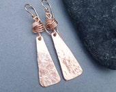 Hammered Bronze Dangle Earrings with Love Knots Handmade Modern Metal Jewelry Bohemian Boho Eighth 8th Bronze Anniversary
