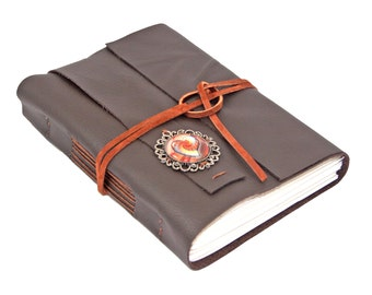 Dark Brown Leather Journal - Blank Paper - Hand Bound Journal  - Heart Cameo - Rustic Journal - Travel Journal - Gift