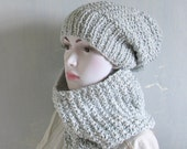 Oversized slouch hat chunky cowl hood scarf set pearl, grey,silver,Mens/Womens Knitted Cowl Hat