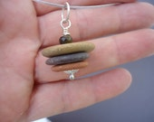 Beach Stone Necklace, Cairn Necklace, Stack Pebble Pendant