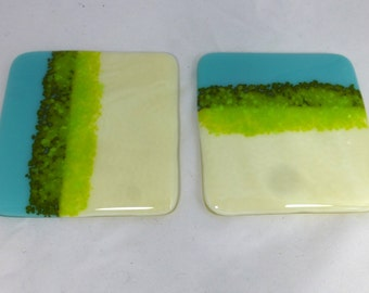 Cream and Baby Blue with Spring Green Accents Fused Glass Coasters - set of two