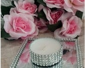 Faux Rhinestone Bling Mirror / Oversized JumboTea light Candles Wedding Centerpiece Decor / Candle Holders