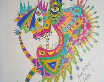 Jester, Original Colored Pencil an Ink Illustration, by Fig Jam Studio