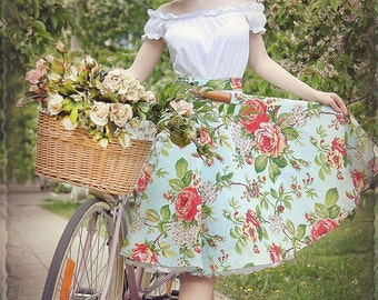 Vintage rose skirt and overal By TiCCi Rockabilly Clothing