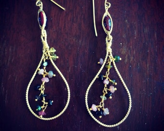 Teardrop Earrings with Tourmaline Faceted stones and Garnet