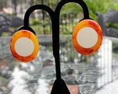 Amazing Injected Dot Bakelite and Lucite Earrings - AS IS