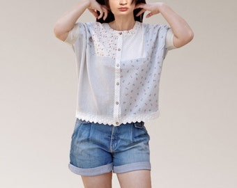 Upcycled women blouses/lace button bat sleeves women tops/mixed fabrics women shirts/summer dresses