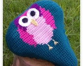 BIKE SEAT COVER peacock teal with pink owl