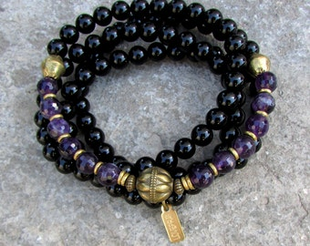 108 bead mala onyx and amethyst wrap bracelet or necklace with African Trade Beads