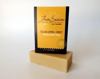 SALE Lemon and Honey Soap - Organic Soap, Honey Soap, Handmade Soap, Men Soap, Women Soap, Natural Soap, Uplifting Soap, Yellow Soap