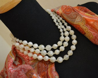 Three Strand Necklace MidCentury Jewelry Boho Paris Chic Choker