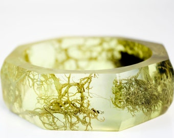 lichen and bark eco resin statement bangle