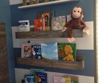 Three 24 Inch Children's Book Shelf, Wall Book Shelf, Shelves, Reading Book Shelf, Rustic Shelf, Box Shelf,Floating Shelf, Spice rack