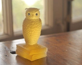 Vintage owl figurine, Westmoreland Glass, honey amber mist yellow frosted satin glass, books, silver eyes, graduation, teacher gift