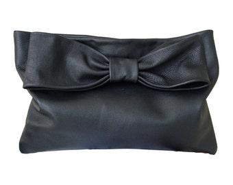 Leather Bow Bag Bow Clutch Foldover Clutch Black Leather Handmade Leather Bag Bespoke Handbag Oversize Clutch Minimalist Leather Goatskin