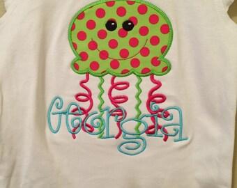 Jellyfish applique shirt includes name monogram