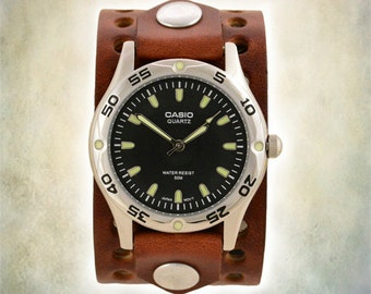 Mens Handmade - Two Hole Leather Cuff Watch