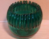 Vintage Blenko Emerald Green Crimped Bowl Vase #538
