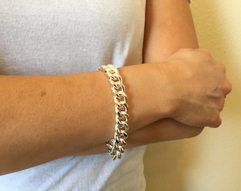 Silver Thick Chain Bracelet