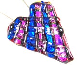 """Dichroic Cremation Jewelry - Heart Layered Weave Pink Blue Red Fused Glass Memorial Pendant Stained Glass - Custom Made - 1.5"""" / 40mm"""