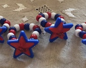 Americana Red, White and Blue Star Napkin Rings