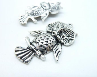 10pcs 26x39mm Antique Silver Lovely owl Charm Pendant c5964