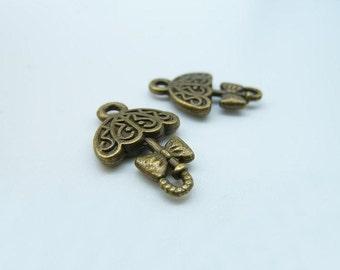 20pcs 12x20mm Antique Bronze  Mini  Opening Umbrella Charm Pendant c1206