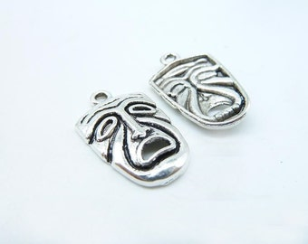 15pcs 15x25mm Antique Silver Embarrassed Cry Face Mask Charm Pendant C7010