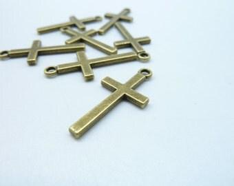 30pcs 13x27mm Antique Bronze  Mini Cross Charms Pendant 8024