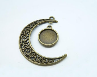 10 sets-Moon and Tray charms, Antique Bronze Crescent Moon ,Galaxy, Cosmic Universe jewelry 12mm Base Setting 7193 D109
