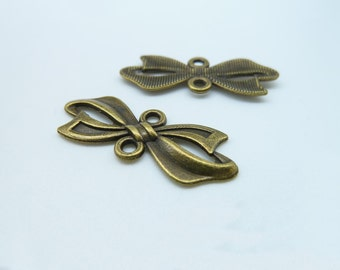 20pcs 11X28mm Antique Bronze Lovely Butterfly Bow Connector Link Charm Pendant c2340