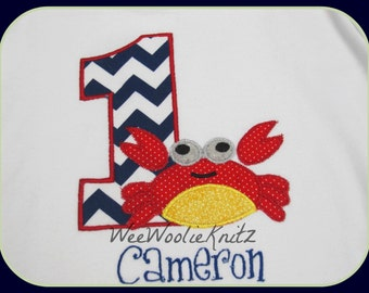 Crab Birthday T Shirt Bib Personalized Nautical Chevron Navy Red Ocean Pool Party Beach Toddler 1st 2nd 3rd