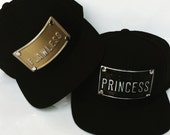 FLAWLEES PRINCESS metal plate snapback hats gold snpabacks hat queen king royalty empress can customize personalize dope personal custom