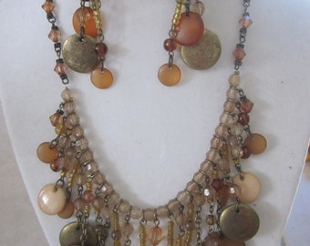 BROWN/BRONZE Necklace and Earring Set