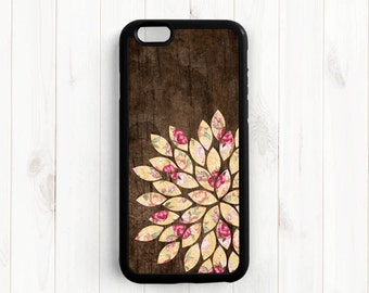 Shabby Chic Dahlia iPhone 7 6 Plus Case, Printed Image Wood Pattern Galaxy S3 S4 S5 S6, iPhone 5 5s 5c 4s Case, Samsung Note 3 4 Case UL12a