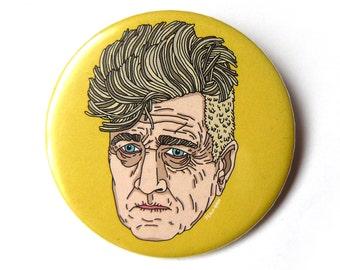 david lynch portrait button pins illustration