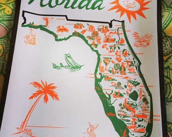 Florida Tray. Vintage Florida. Vintage Florida Tray. Glass Tray.