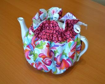 Pretty Tea Cozy, 4-6 cups, Cotton Quilted Tea Cosy, Kitchen, Tea Party Decor
