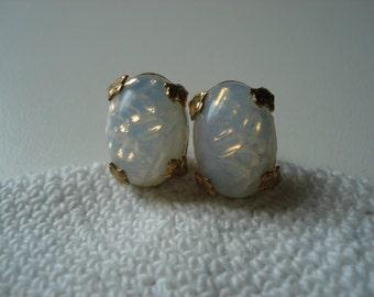 Vintage White Opal Glass Gold Pierced Earrings Art Deco