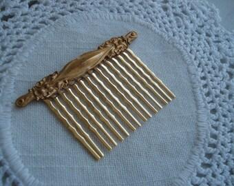 Vintage Art Nouveau Gold Hair Comb Woodland Flowers Floral