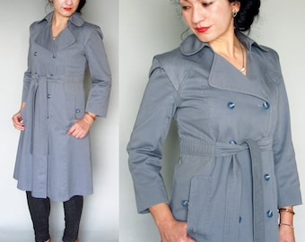 Vintage 80s trench coat slate blue gray shoulder details medium