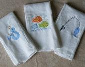 Personalized 3-piece Fishies Burp Cloth Set