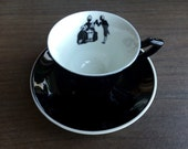 Syracuse China Vintage Demitasse Cup and Saucer Black and White Silhouette Victorian Couple Railroad Restaurant Ware
