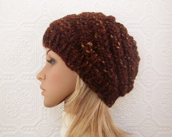 Knit hat - chunky knit beanie - women's brown winter hat, fall winter accessories Sandy Coastal Designs Winter Fashion  - ready to ship
