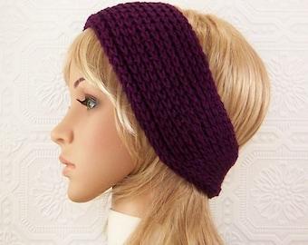 Crochet headband, headwrap, ear warmer - deep purple - Women's accessories Winter Fashion handmade by Sandy Coastal Designs - ready to ship