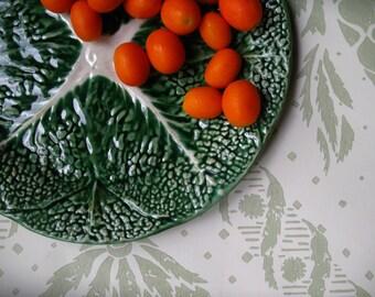 Vintage-MCM- Majolica Platter- Green Lustre Glazed- Round Cabbage Leaf -