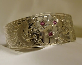 Sterling Silver engraved cuff Bracelet with Pink Tourmaline