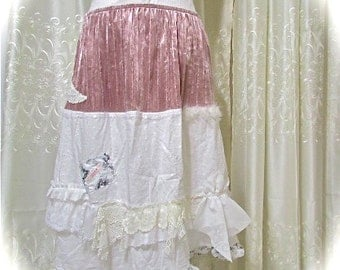 Tattered White Skirt, liliac velvet with white cotton, shabby layered romantic lace, upcycled clothing, Large