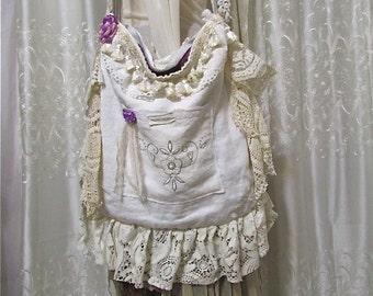 Slouchy Old Linen Bag, handmade shabby cotton linen fabric bag, vintage linen lace doily bag, large romantic bag, country market bag